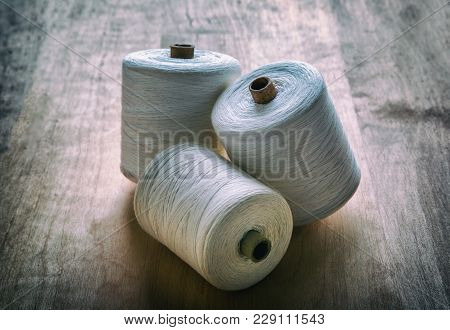 Creative Image Still Life Coil Thread For Sewing And Needlework, Hobby, Retro Style On Old Wooden Su