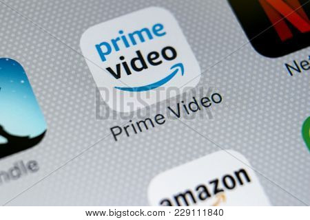 Sankt-petersburg, Russia, March 1, 2018: Amazon Prime Video Application Icon On Apple Iphone X Scree