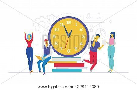 Time Management - Flat Design Style Colorful Illustration On White Background. A Composition With Of