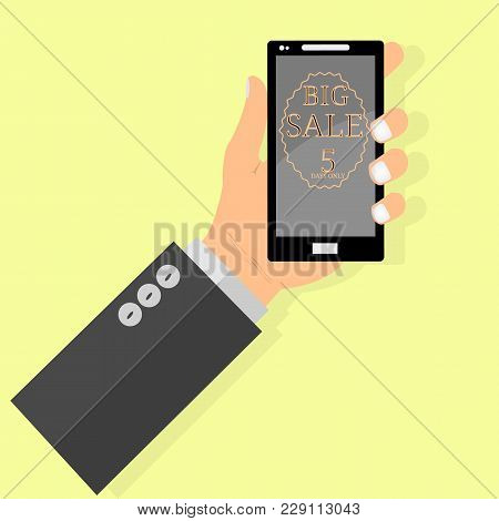 Online Shopping Big Sale Concept With Man's Hand Holding Smartphone And E-commerce Vector Illustrati