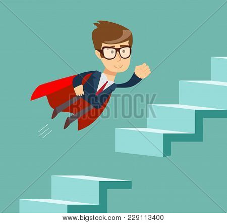 Man Climbs The Steps Of Collapsing Ladder. Stock Flat Vector Illustration.