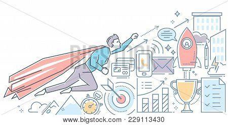 Business Hero - Modern Color Line Design Style Illustration On White Background. Banner Header For Y