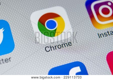 Sankt-petersburg, Russia, March 1, 2018: Google Chrome Application Icon On Apple Iphone X Screen Clo