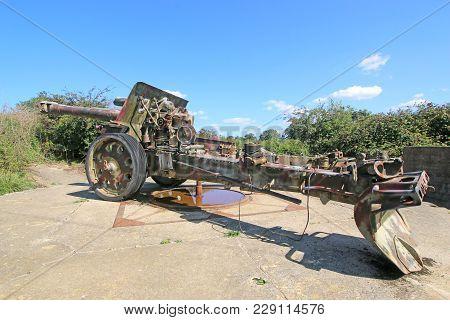 Second World War Field Gun In Normandy, France