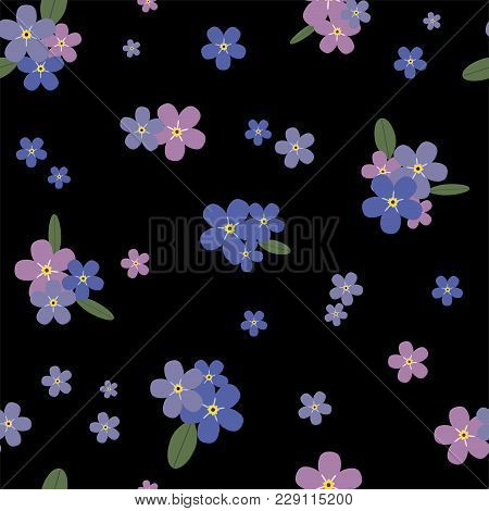 Floral Seamless Pattern With Blue And Pink Forget-me-nots. Vector.