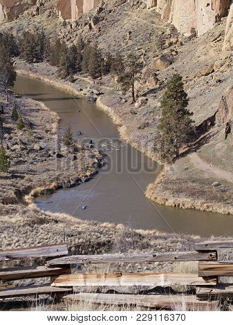 The Smooth Flowing Waters Of The Crooked River Wind The Steep Canyons At Smith Rock State Park With