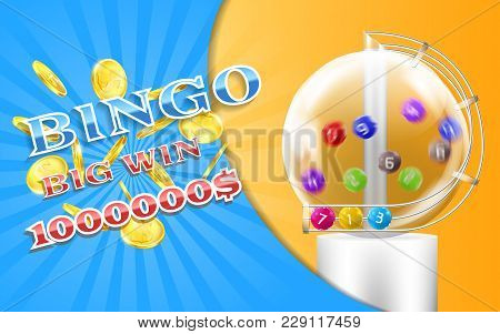 Vector Bingo Game Banner With Realistic Golden Coins, With Lottery Machine And Colorful Balls Inside