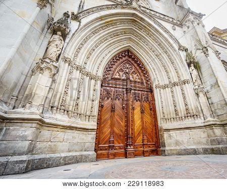 Wide Angle Worms Eye View Of Bilbao Cathedral Entrance