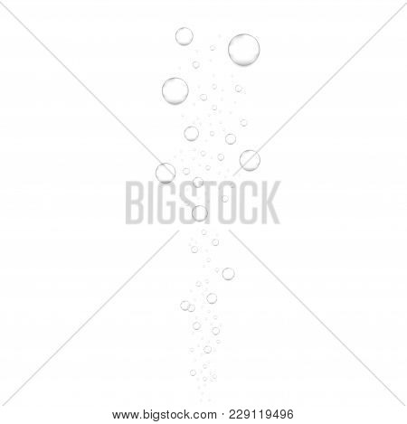 Realistic Underwater Fizzing Air Bubbles Isolated On White Background. Sparkling Water, Air Bubbles