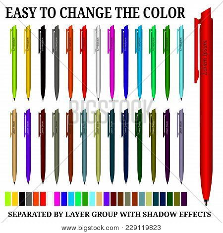 Color Ball Pens Isolated On White Background, Vector Illustration