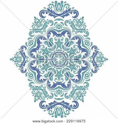 Oriental Blue Pattern With Arabesques And Floral Elements. Traditional Classic Ornament. Vintage Pat