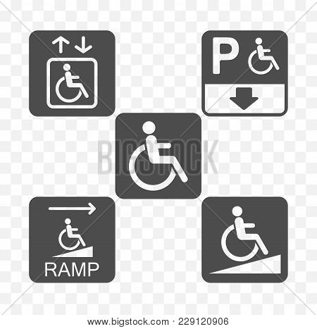 Disabled Access Icon Set, Disability Accessible Signs