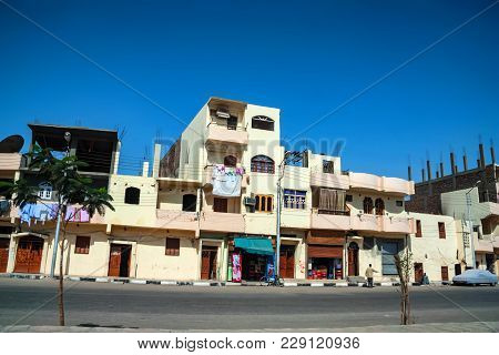 Luxor, Egypt - February 17, 2010: Buildings Of Luxor, Egypt. Luxor Is A City In Upper Egypt And The