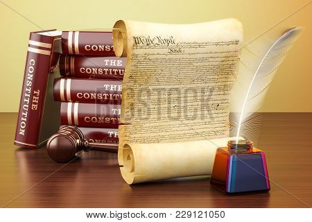 Constitution Of The United States Concept On The Wooden Table. 3d Rendering