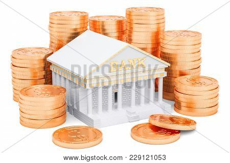 Banking Service Concept, Golden Coins Around Bank. 3d Rendering