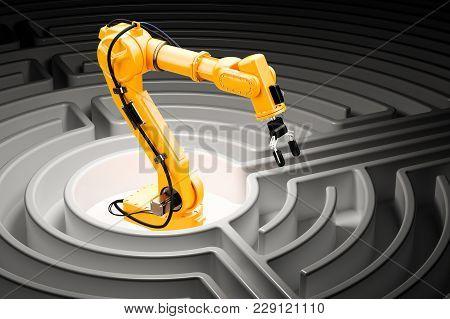 Robotic Arm Inside Labyrinth Maze, 3d Rendering
