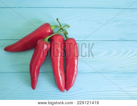 Red Pepper On A Blue Wooden Copy Space, Wood, Border, Wooden, Freshness
