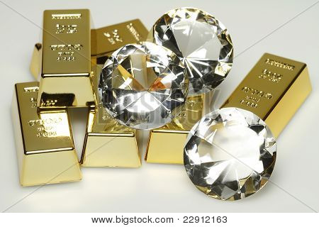 gold bars and diamonds
