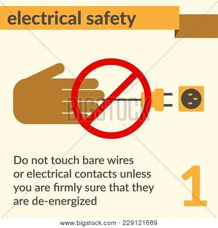 Occupational Safety And Health Vector Icons And Signs Set. Electrical Safety.