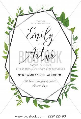 Wedding Floral Watercolor Style Botanical Invite, Invitation Save The Date Card Design With Forest G