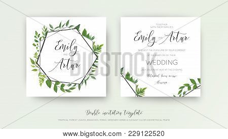Wedding Floral Watercolor Style Double Invite, Invitation, Save The Date Card Design With Forest Gre