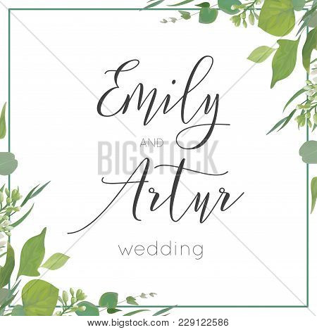 Wedding Invitation, Invite, Save The Date Card Design. Green Watercolor Style Eucalyptus Leaves, Whi