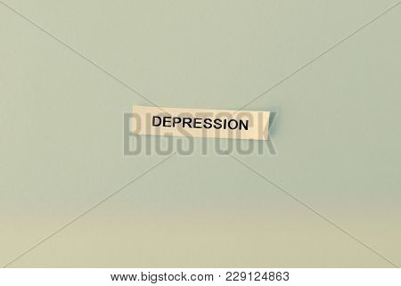 Word Depression On Sticky Note On Pink Background. Menatl Health, Problems, People