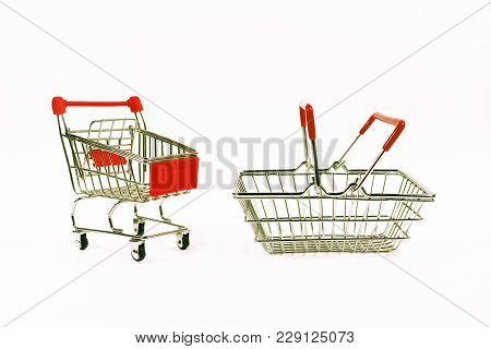 Shopping Concept, Shopping Cart, Grocery Trolley Food Basket