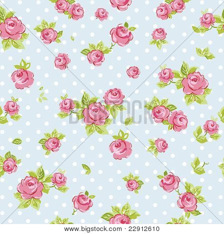 Elegance Seamless wallpaper pattern with of pink roses on blue background, vector illustration