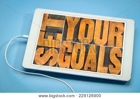 set your goals  - word abstract in vintage letterpress wood type on a digital tablet