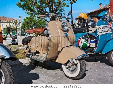 Poggio Berni, Rimini, Italy - April 9, 2012: Vintage Italian Scooters Lambretta And Vespa In Motorcy