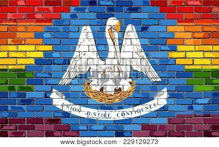 Brick Wall Louisiana And Gay Flags - Illustration, Rainbow Flag On Brick Textured Background,  Abstr
