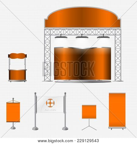 Illustrated Unique Creative Exhibition Stand Display Design With Table And Chair, Info Board, Roll U