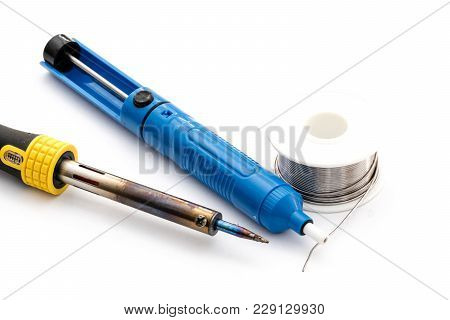Soldering Iron And Wire. Desoldering Vacuum Pump. Isolated On White Background. Electronic Repair Eq