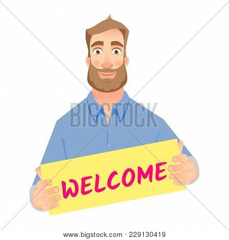 Welcome Business Illustration. Businessman Holding Welcome Sign.