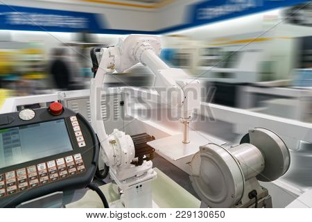 robotic arm tool in industrial manufacture plant,Smart factory industry 4.0 concept.