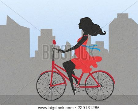 Silhouettes Of Pregnant Woman On Red Bike On Backdrop Of City. Calm Girl In Red Dress With Positive