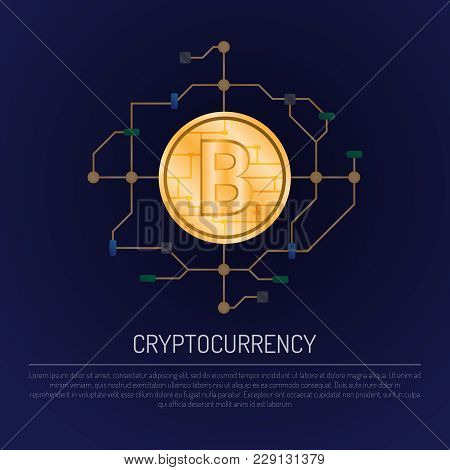 Web Banner With A Golden Bitcoin And World Map On Dark Blue Background With Microchip And Text. Cryp