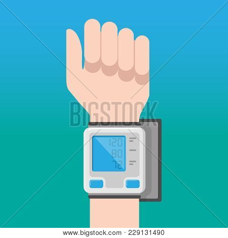 Digital Blood Pressure Monitor On The Wrist Of The Hand On A Blue Background. Medical Flyer Design T