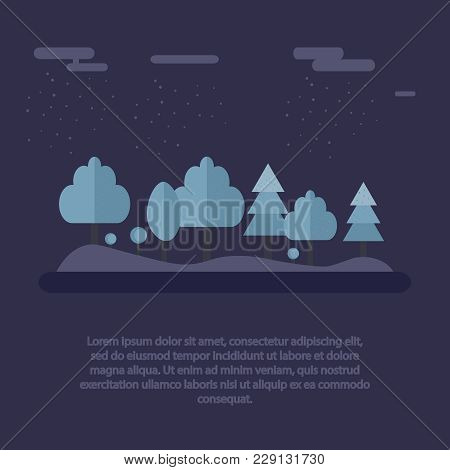 A Winter Landscape. Night In Winter Forest. Beautiful Landscape Snowy Trees At Night Time. Vector Il