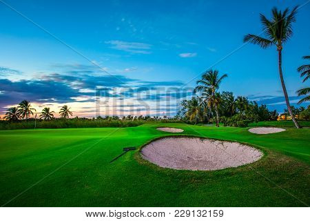 Golf Course In Tropical Island Dominican Republic. Punta Cana Resort.