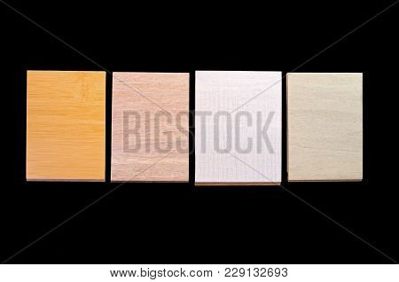 Samples Showing Different Styles And Textures Of Bamboo Flooring Isolated Against Black Background