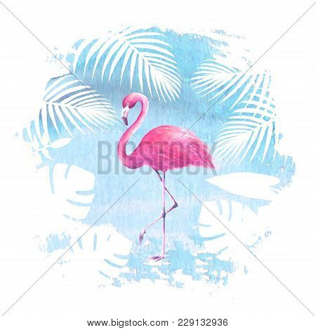 Pink Flamingo And Tropical Exotic Plants On Blue Watercolor Hand Drawn Spot. Tropical Exotic Bird Is
