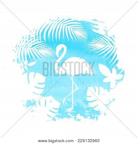Silhouette Of Flamingo And Tropical Exotic Plants On Teal Blue Watercolor Hand Drawn Spot. Tropical