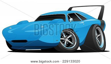 Classic American Muscle Car Hot Rod With Huge Rear Spoiler