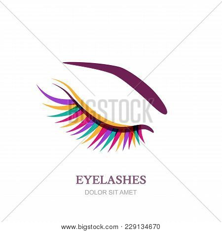 Female Eye With Colorful Eyelashes. Vector Logo, Emblem Design. Concept For Beauty Salon, Cosmetics,