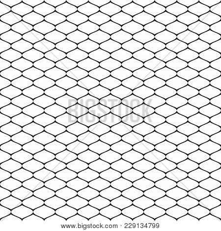 Vector Seamless Pattern, Simple Black And White Geometric Texture, Monochrome Illustration Of Mesh,