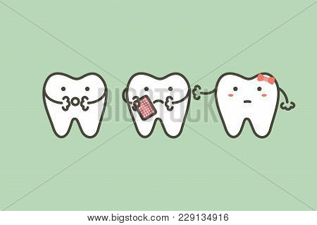 Tooth Have A Toothache Because Decay Tooth Or Dental Caries - Teeth Cartoon Vector Flat Style Cute C