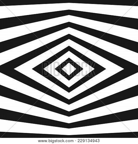 Vector Stripes Pattern. Black And White Geometric Seamless Texture With Refracted Lines, Rhombuses.