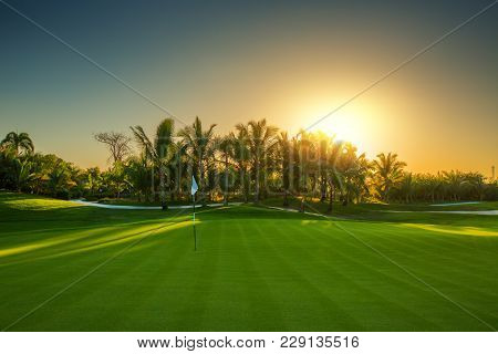 Golf Course In The Tropical Island. Dominican Republic, Punta Cana